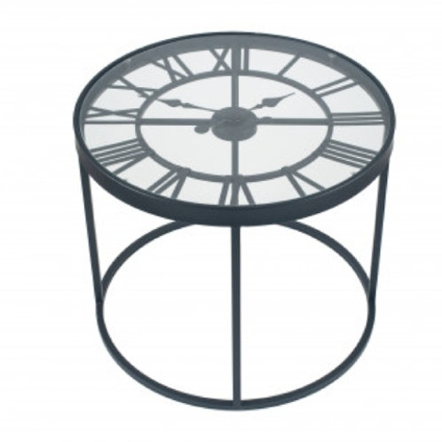 Pacific antique black mrtal round click side table