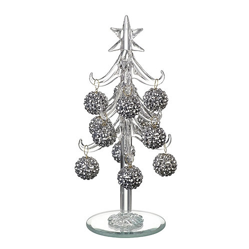 Glass Xmas Tree With Bauble Set