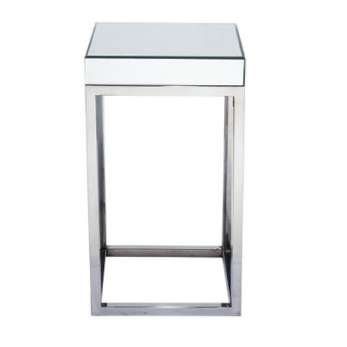 Pacific silver mirrored glass metal square small table
