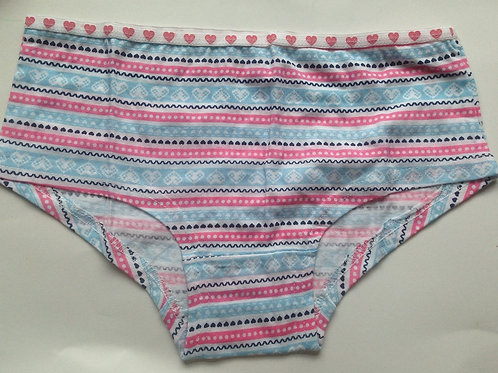 BLUE STRIPE COTTON USED PANTIES WITH HEART WAISTBAND (SKU0672)