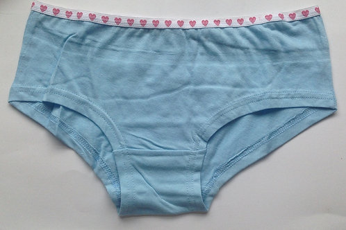 BLUE COTTON USED PANTIES WITH HEART WAISTBAND (SKU0671)