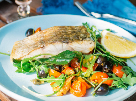 Warm Barramundi Salad With Tomatoes, Capers And Olives