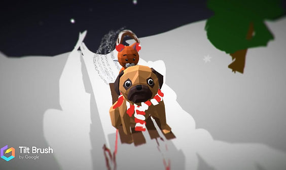 A winter sports and animals VR art piece by Liam!