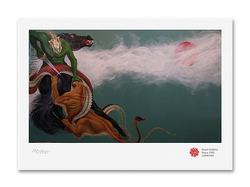 Zahhak and lion at war by Ali Nedaei
