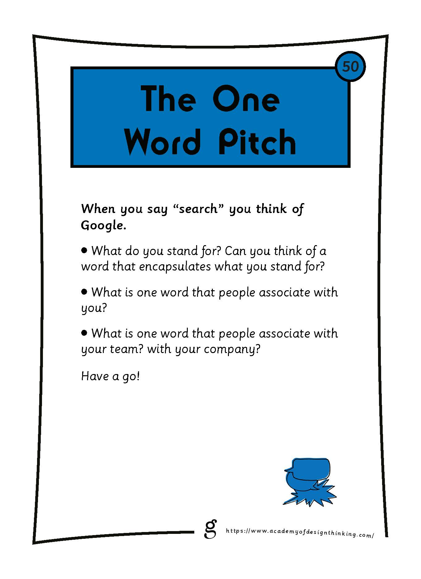 The One Word Pitch
