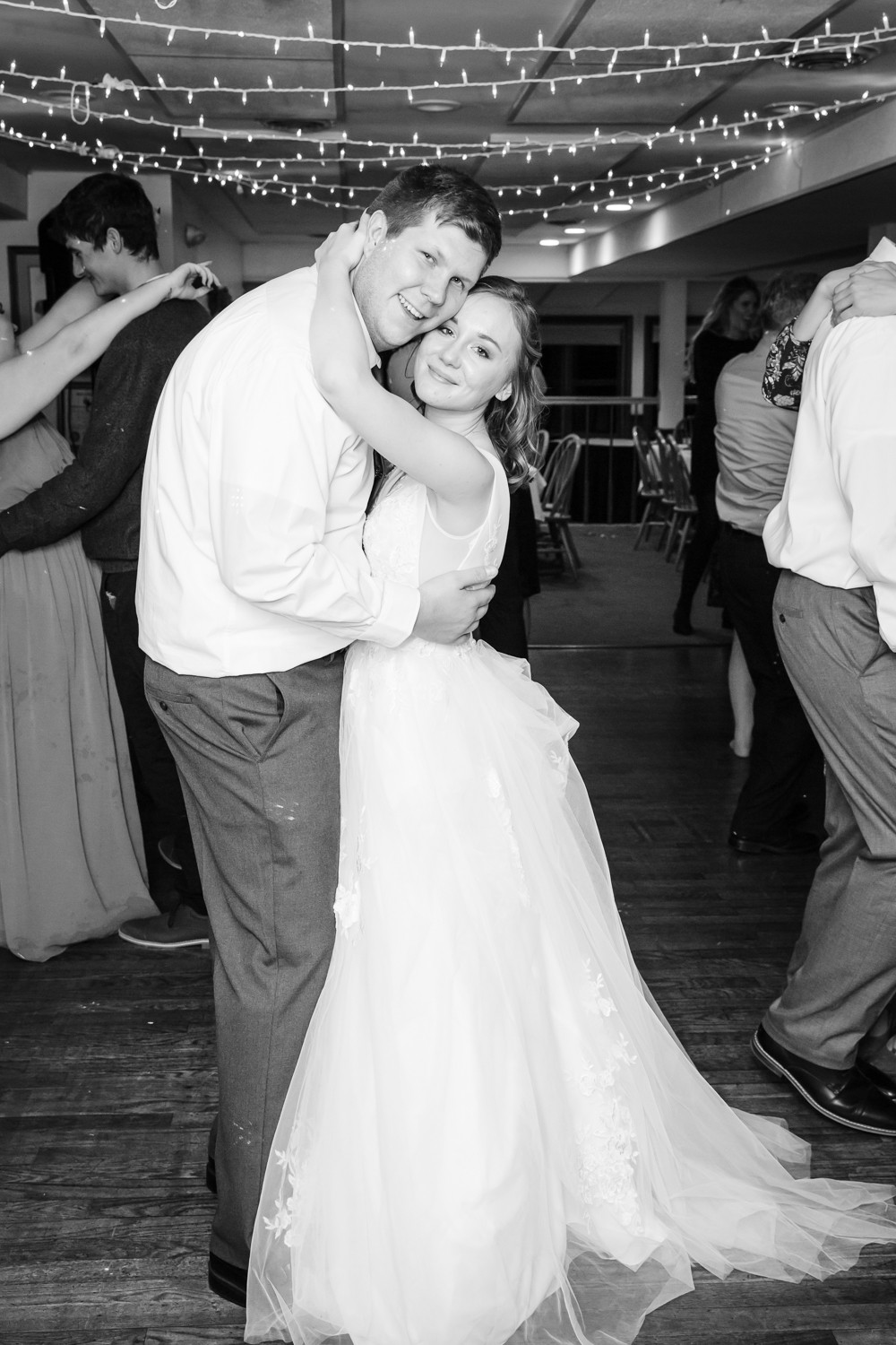 Bride and Groom dancing last dance black and white wedding photography by Maine Wedding Photographer