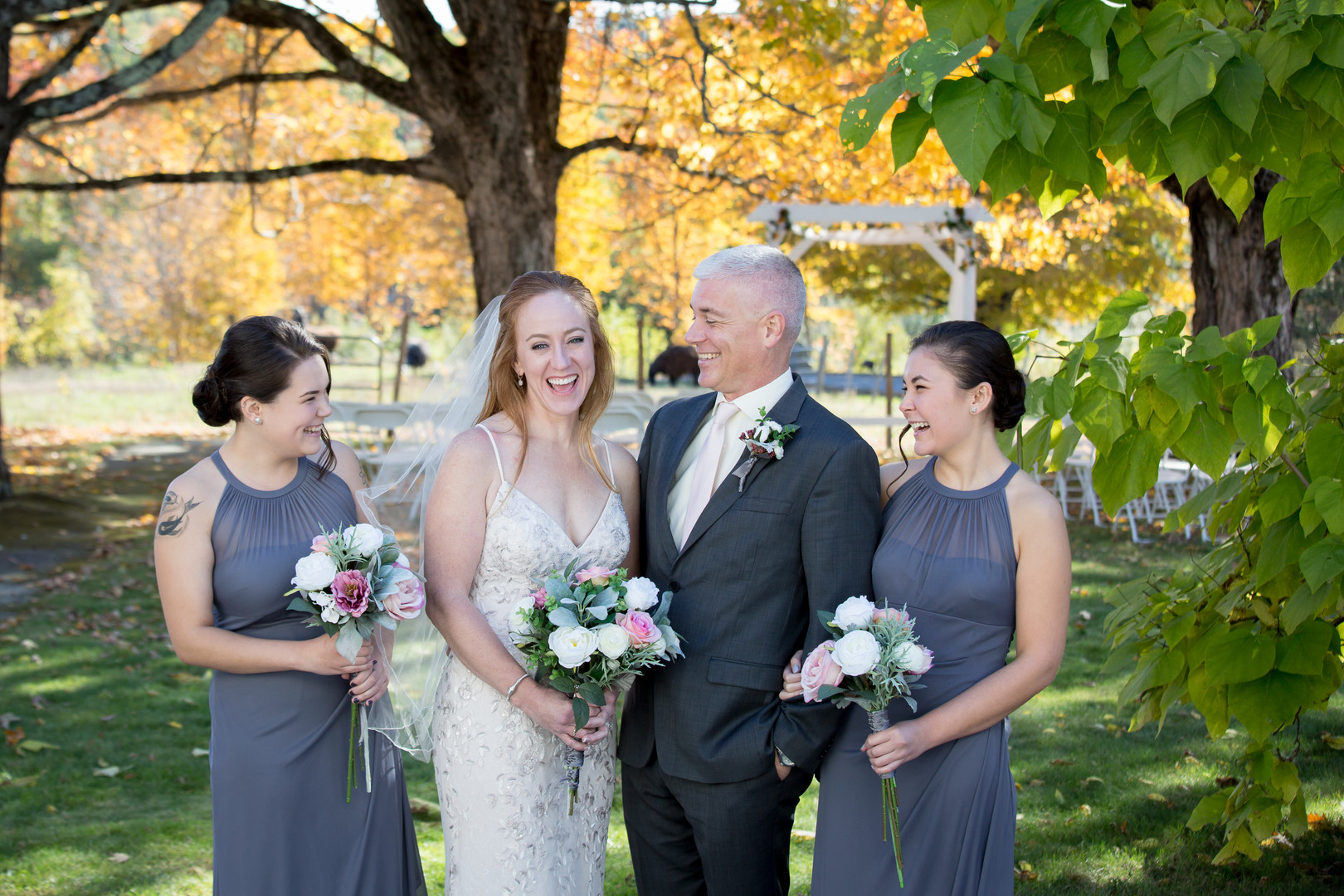 Wedding Party Laughing Portrait