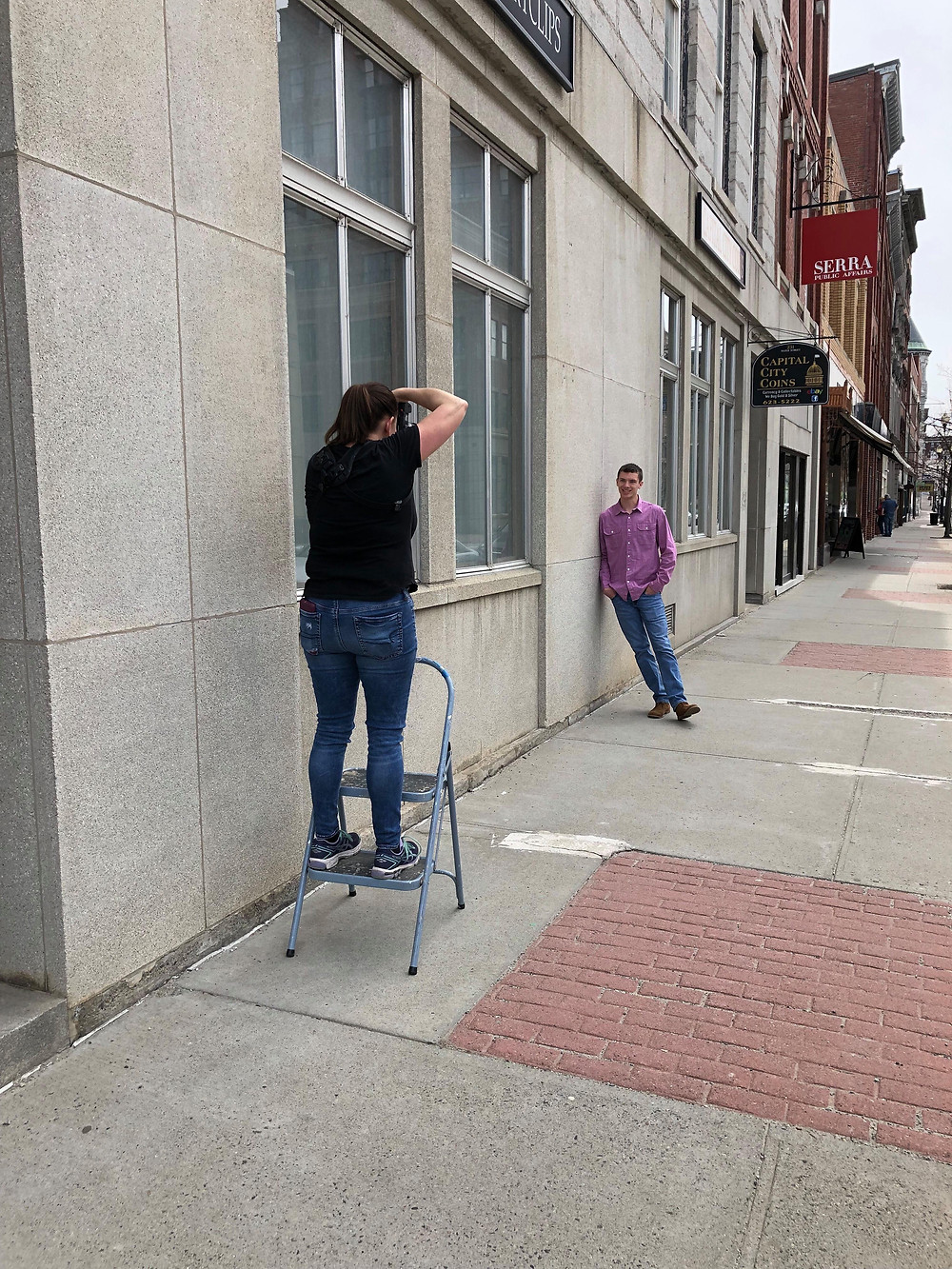 Julie Frances Photography on step ladder | Senior photo | Boy | City | Urban