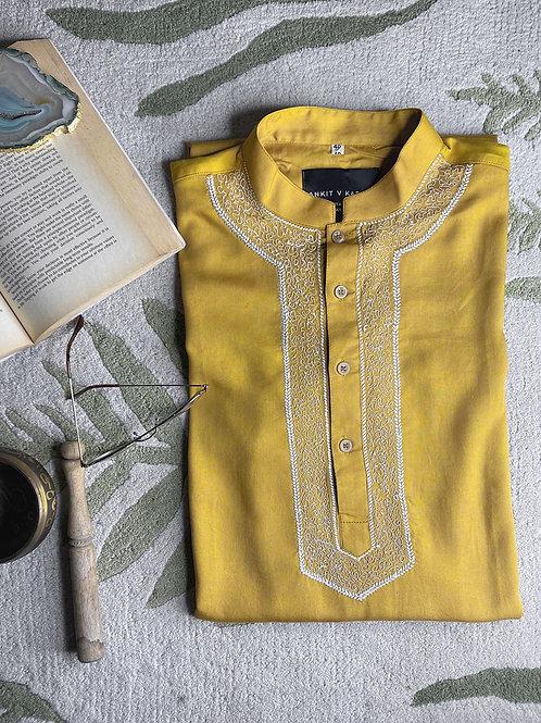 Mustard Cotton Kurta
