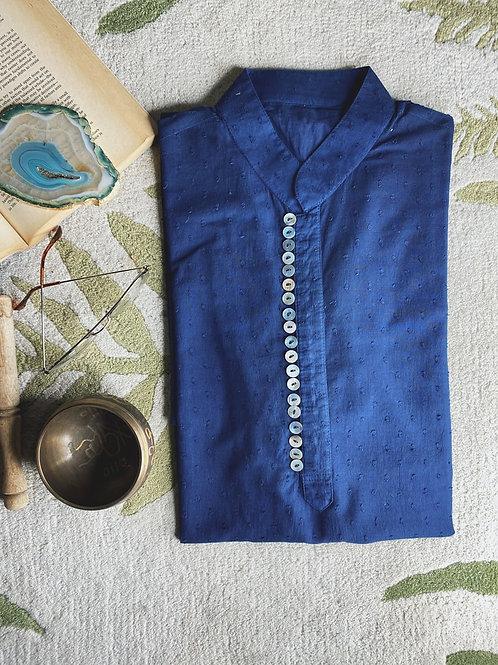 Navy Blue Pure Cotton Kurta