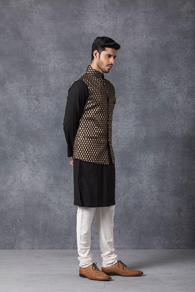 Black Traditional Chanderi nehru jacket