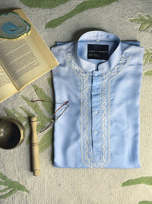 Powder Blue Cotton Kurta