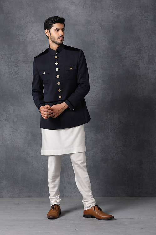 Contemporary Navy Blue Bandhgala