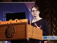 Katharina Riediger presents the details of the Creative Europe project in Yerevan