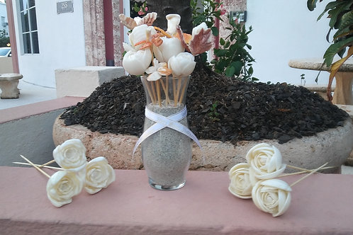 Small Bouquet of Unique Seashell Flowers. Handmade w/South Beach Shells