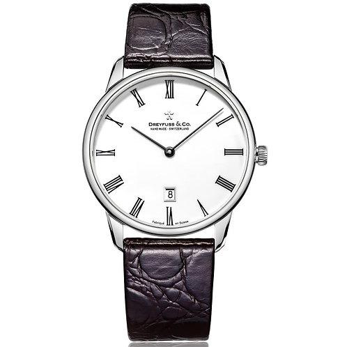 Dreyfuss & Co DGS00135-01 Gents Silver Tone Swiss Leather Watch 5404012