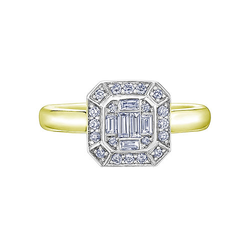0.40ct Diamond Halo 9kt Yellow Gold Engagement Ring 0112250