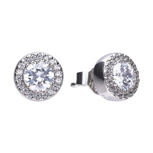 DIAMONFIRE ROUND PAVE HALO STUD STERLING SILVER EARRINGS