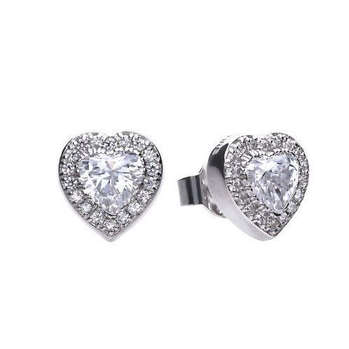 DIAMONFIRE PAVE HEART STUD STERLING SILVER EARRINGS