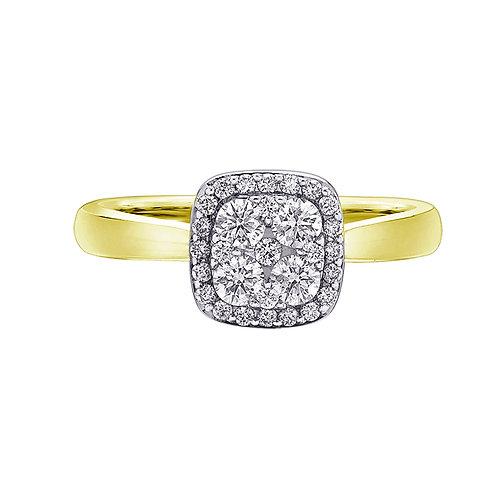 0.50ct Diamond Halo 9kt Yellow Gold Engagement Ring 0112239