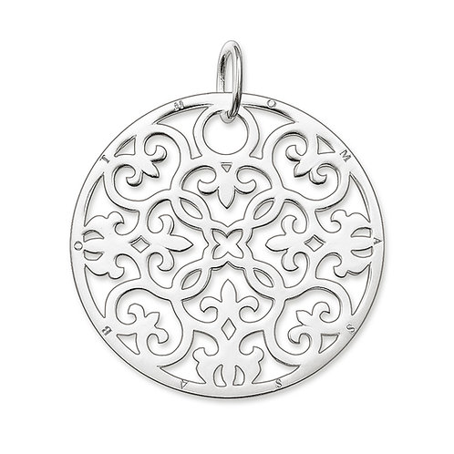 Thomas Sabo PE431-001-12 Sterling Silver Floral Disc Pendant 3301386