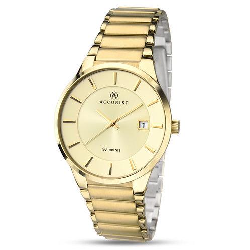 Accurist 7008 Gents Bracelet Yellow Tone Quartz Watch 2703004