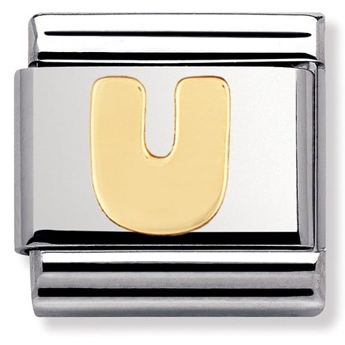 Nomination 030101 21 Classic 18kt Gold and Stainless Steel Letter U Link Charm