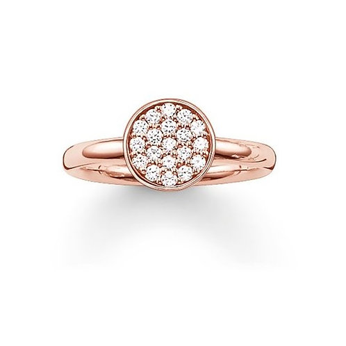 Thomas Sabo TR2050-416-14 CZ Sterling Silver 18kt Rose Plate Ring 3303261
