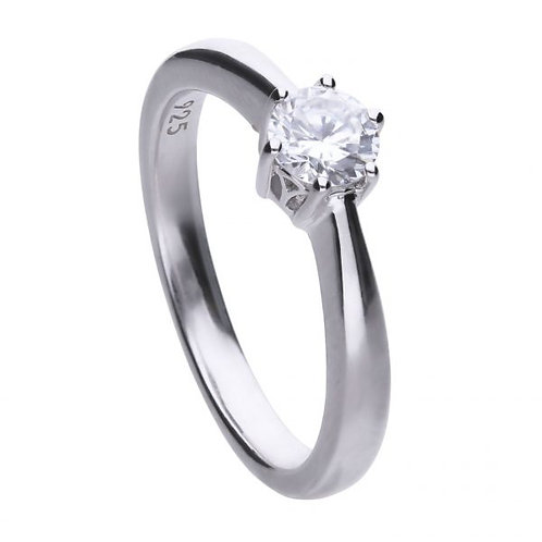 DIAMONFIRE CLAW SET 0.50CT SOLITAIRE STERLING SILVER RING