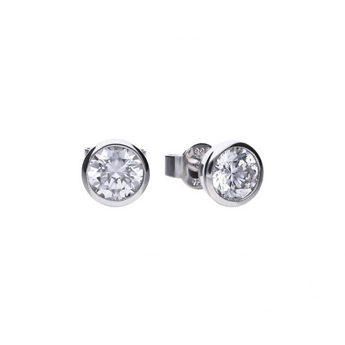 DIAMONFIRE BEZEL SET 1.5CT SOLITAIRE STUD STERLING SILVER EARRINGS