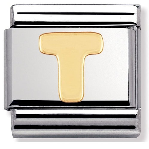 Nomination 030101 20 Classic 18kt Gold and Stainless Steel Letter T Link Charm
