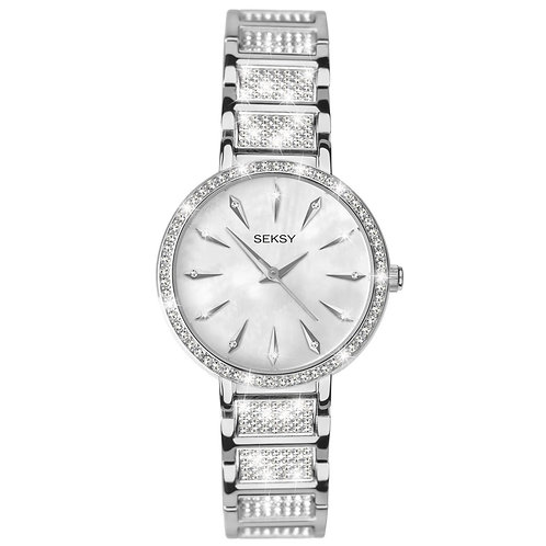 Seksy 2371 Round chrome stone set White mother-of-pearl Watch 2901721