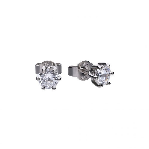 DIAMONFIRE CLAW SET 1CT SOLITAIRE STERLING SILVER EARRINGS