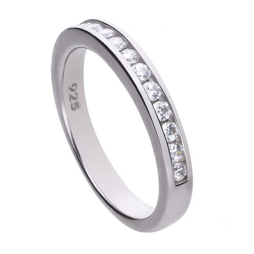 DIAMONFIRE CHANNEL SET  STERLING SILVER RING