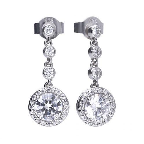 DIAMONFIRE ROUND CLUSTER DROPS STERLING SILVER EARRINGS