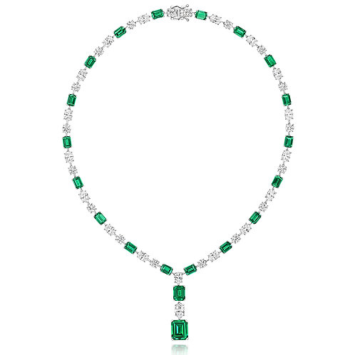 LapidaryLNG0010E CZ Green Collar Sterling Silver Necklace