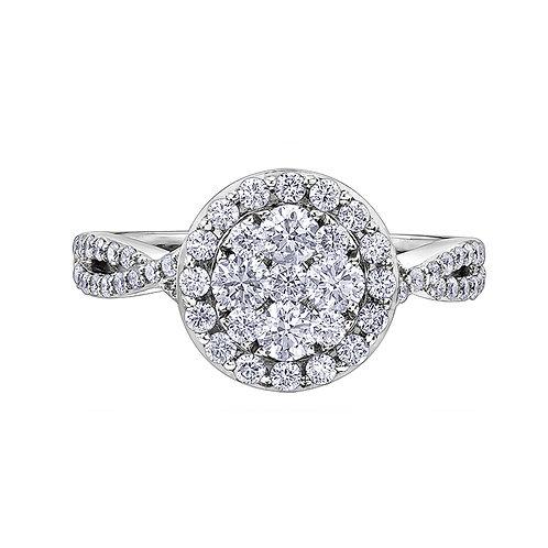 1.00ct Diamond Halo 18kt White Gold Engagement Ring 0112252
