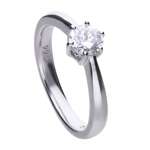 DIAMONFIRE CLAW SET 0.75CT SOLITAIRE STERLING SILVER RING