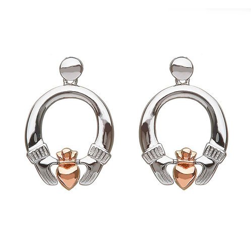 House ofLor H30036 Sterling Silver & Irish Rose Gold Claddagh Earrings