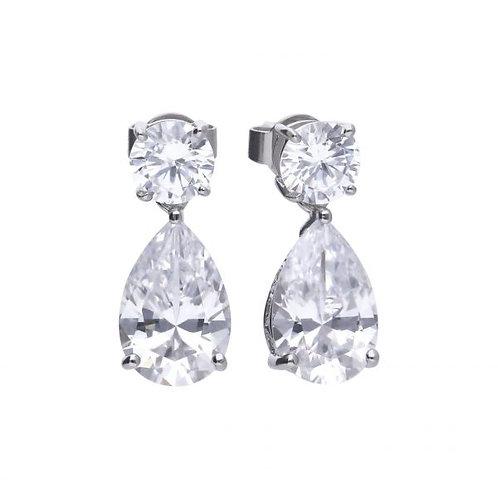 DIAMONFIRE CLAW SET PEAR DROP STERLING SILVER EARRINGS