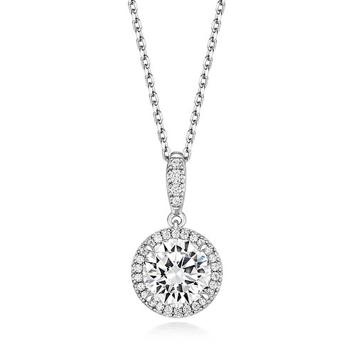 Lapidary LPG0012CZ HaloSterling Silver Necklace 1407539