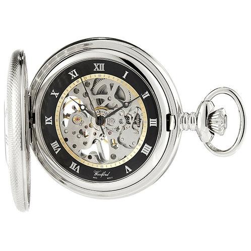 Chrome Half Hunter Skeleton Mechanical Pocket Watch with Chain 2905054