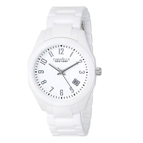 Caravelle New York 45M107 Ladies White Ceramic Quartz Watch 2901598