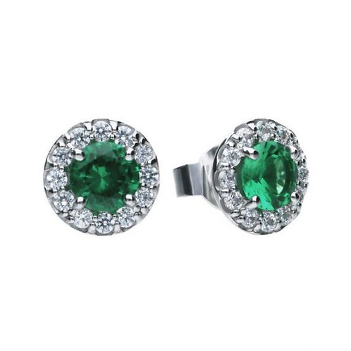 DIAMONFIRE GREEN EMERALD COLOURED ROUND HALO STERLING SILVER EARRINGS