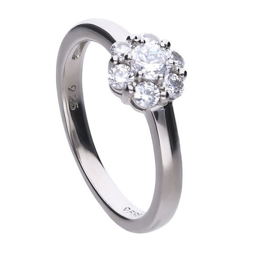 DIAMONFIRE SMALL FLORAL SHAPE STERLING SILVER RING