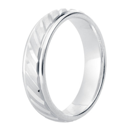 Gents Modern Patterned Diamond Cut Court Wedding Ring