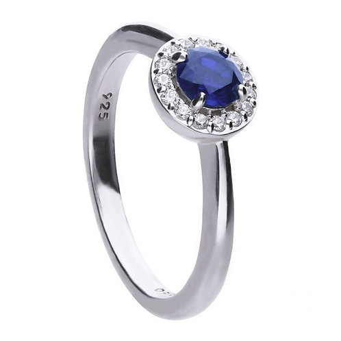 DIAMONFIRE BLUE SAPPHIRE COLOURED SOLITAIRE STERLING SILVER RING