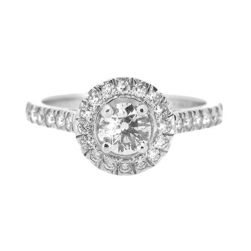 1.00ct D Colour Platinum Diamond Halo Engagement Ring 0112049