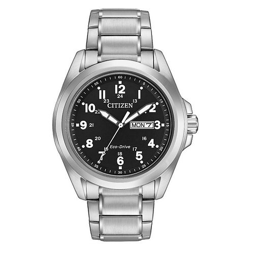 Citizen AW0050-82E Gents Black Dial Eco-Drive Watch 2603111
