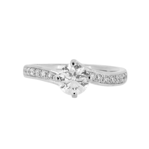 1.08ct Platinum Solitaire Twist Diamond Engagement Ring 0101182